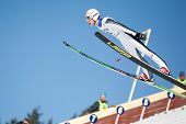 VIKERSUND, NORWAY - MARCH 15: Johan Remen of Norway competes in the FIS World Cup Ski Jumping Compet