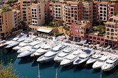 A row of yachts in Monaco, Monte Carlo