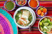stock photo of poblano  - tortilla soup and mexican chili habanero sauces lemon tomato - JPG