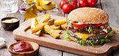 Burger, Hamburger With French Fries Cutting Board. poster