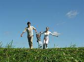 Running Family Sunny Day