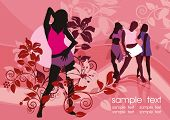 Sexy group elegance silhouettes, composition of dancing girls, fashion Women Collection - figures on color background