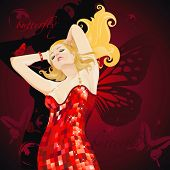 Beautiful dancing sexy girl in red dress. Pretty woman with butterfly wings.
