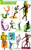 COLLECTION_8 Exclusive Series of Sports Icons and Fitness Club symbols with modern ideas. Vector col