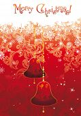 Christmas decoration winter background with space for text. Abstract vector postcard with gold campa