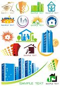 House vector Icons for Web. Construction or Real Estate concept. Abstract color element set of corpo