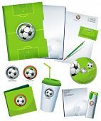 Green Office elements and accessories with symbol of soccer ball. Vector business set of secretarial