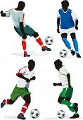 Soccer Action Players. Four figures on insulated background. Sports design elements. Original Vector