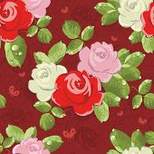 Seamless wallpaper pattern with of bouquet roses on background with butterfly, vector illustration