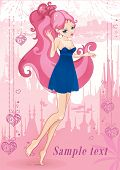 picture of fairyland  - Fairyland city with Little beautiful girl - JPG