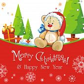 Red baby winter background with Funny young Teddy bear. Merry Christmas and a Happy New-Year's greet