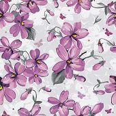 Elegance Seamless color violet pattern on floral background, vector illustration