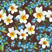 Stylish beautiful bright floral seamless pattern. Abstract Elegance vector illustration texture with forget-me-not and Daffodils.