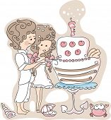 beach wedding set - couple cutting the wedding cake