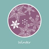 Постер, плакат: Зимняя карта с снежинки