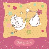 baby girl card with stork