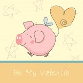 be my valentine card with cute flying pig