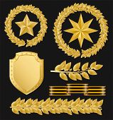 Vector gold laurels with stars and a ribbon on a black ground
