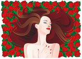 Woman with long brown hair on a background of red fresh roses