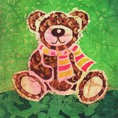 Image of my artwork with a Teddy bear with a scarf