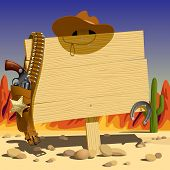 stock photo of colt  - Vector illustration with a wood sign in the Wild West - JPG