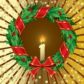Vector green holly wreath on a gold background