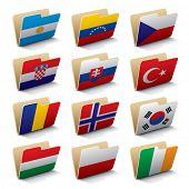 Conjunto de 3 ícones de pastas de vetores com bandeiras do mundo