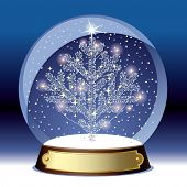 Vector snow globe with a silver christmas tree within