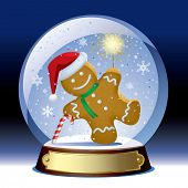 Isolated raster version of vector snow globe with a gingerbread man with a sparkler within