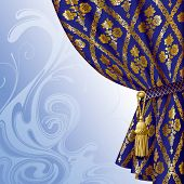 Vector image of a blue drape with gold vintage ornament against the abstract background