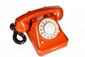 Nice old-styled red telephone isolated