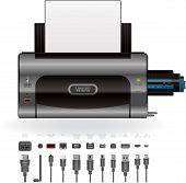 Impresora LaserJet, puertos & Cables