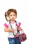 Beautiful young girl with a bag