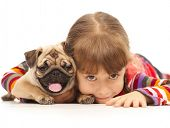 stock photo of puppy dog face  - Little girl and the Pug - JPG