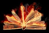 stock photo of fantail  - Opened burning book with fantail bright flaming sheets over on the black background - JPG