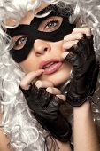 picture of incognito  - Close up shot of gorgeous Incognito woman in ancient style wig and mask - JPG