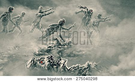 Attack Zombie Army On Battlefield
