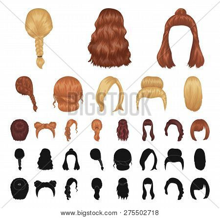 Female Hairstyle Cartoon Black Icons