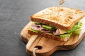 Close-up Photo Of A Club Sandwich. Sandwich With Meet, Prosciutto, Salami, Salad, Vegetables, Lettuc poster