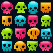 Colorful Glossy Skulls
