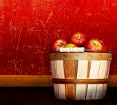 Basket Of Healthy Red Delicious & Pink Lady Apples ~ Vintage Antique Textured & Distressed Red Backg