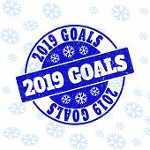 2019 Goals Round Stamp Seal On Winter Background With Snowflakes. Blue Vector Rubber Imprint With 20 poster