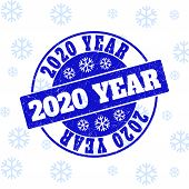 2020 Year Round Stamp Seal On Winter Background With Snow. Blue Vector Rubber Imprint With 2020 Year poster