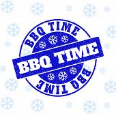 Bbq Time Round Stamp Seal On Winter Background With Snowflakes. Blue Vector Rubber Imprint With Bbq  poster