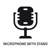 Microphone With Stand Icon Isolated On White Background. Microphone With Stand Icon Simple Sign. Mic poster