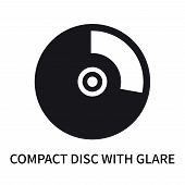 Compact Disc With Glare Icon Isolated On White Background. Compact Disc With Glare Icon Simple Sign. poster