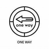 One Way Icon Isolated On White Background. One Way Icon Simple Sign. One Way Icon Trendy And Modern  poster