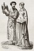 Medieval nobleman and noblewoman old illustration. Created by Herbe and Viel-Castel, published on Ma
