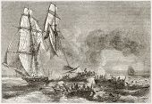 Slaver vessel escaping from military ship getting rid of slaves. Created by Morel-Fatio, published o