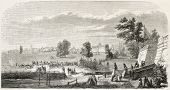 Chantilly racecourse old illustration, France. Created by Parent, published on L'Illustration, Journal Universel, Paris, 1858